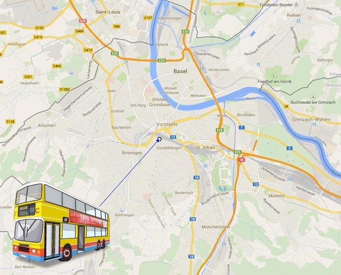 Basel bus station map