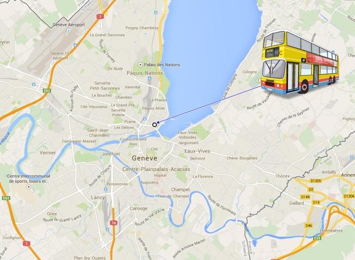 Map bus station Geneva